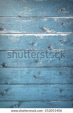 Blue vintage wood texture - stock photo