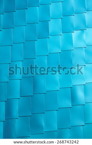 Blue Vinyl Tile wall Background. Vertical shot