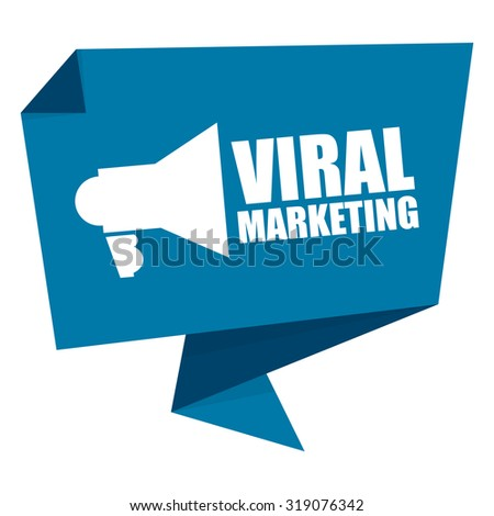 Blue Viral Marketing Paper Origami Speech Bubble or Speech Balloon Infographics Sticker, Label, Sign or Icon Isolated on White Background - stock photo