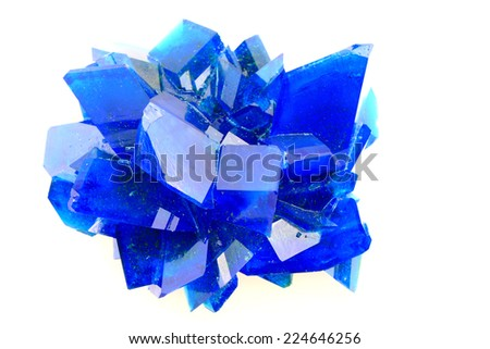 blue vitriol mineral isolated on the white background - stock photo
