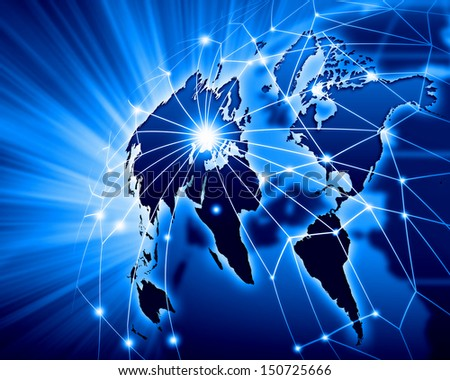 Blue vivid image of globe. Globalization concept - stock photo