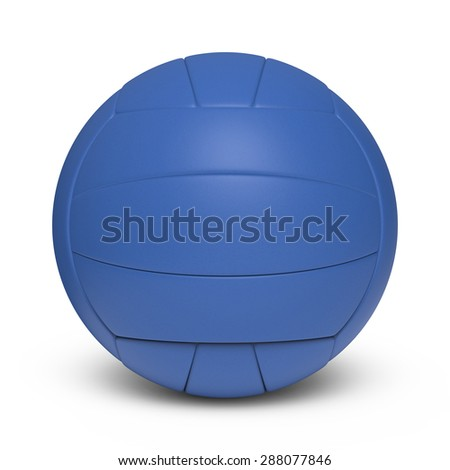 Blue volleyball leather ball - 18 segments