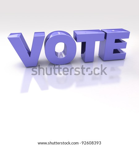 Blue Vote 3D Text over a white reflective background