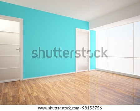 blue wall and two glass door - stock photo