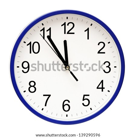 blue wall clock isolated on white - stock photo