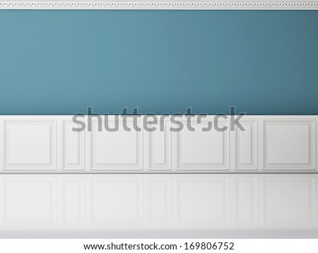 Blue wall in a classic style  and reflection white floor - stock photo