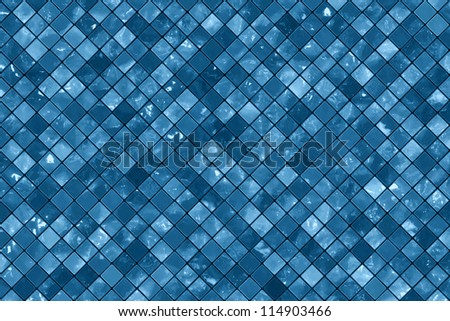 Blue wall tiles background - stock photo