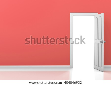 blue wall with opened white door 3d rendering - stock photo