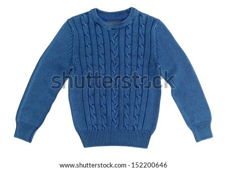 Blue warm knitted sweater with a pattern. Isolate on white. - stock photo