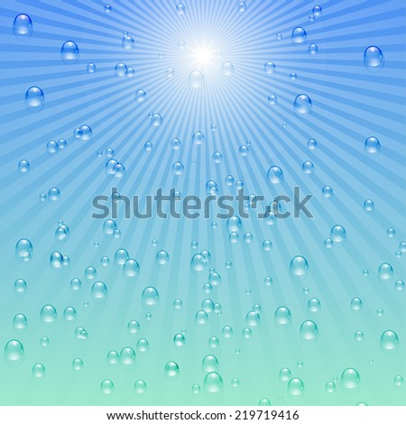 Blue water background with drops / bubbles and sunshine. Raster copy.  - stock photo