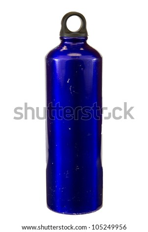 Blue water bottle isolated on a white background.