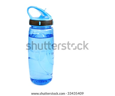 blue water bottle isolated on white