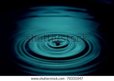 blue water drop close up - stock photo