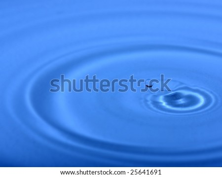 Blue water drop. Close-up. Nature background.