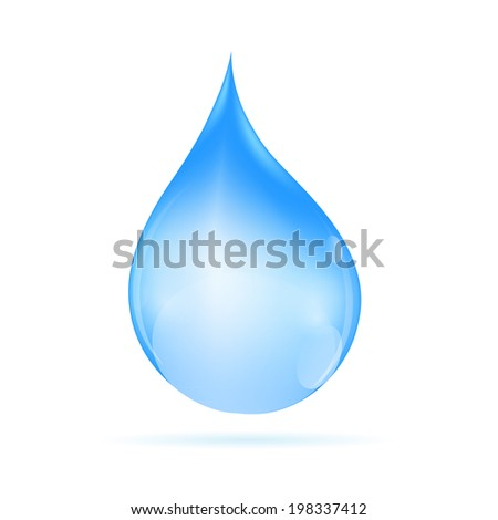 Blue Water Drop   Illustration. Isolated.