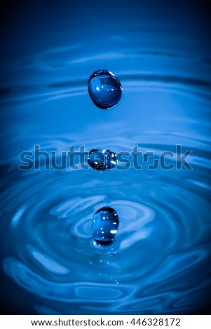 Blue Water Drops In Water In Water - stock photo