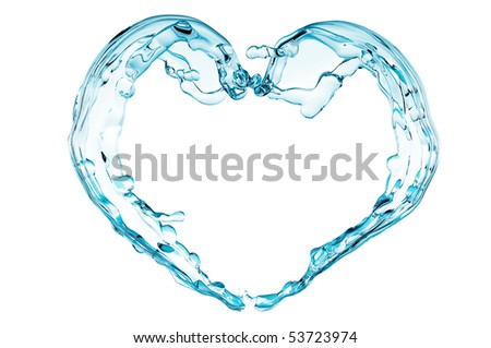 Blue water heart - stock photo