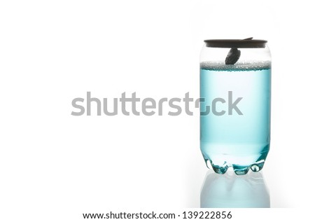 Blue water in Plastic Can - stock photo