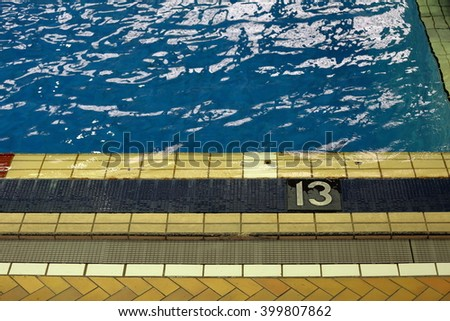 Blue water in the pool - stock photo