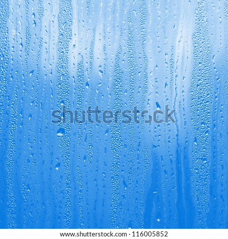 blue water on glass - stock photo