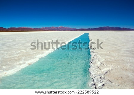 "Blue Water. ""Salar Grande"", Jujuy Province - Argentina. - stock photo"