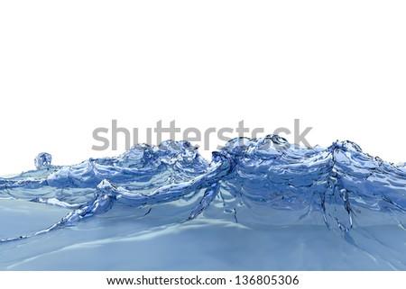Blue water splash. A Water splashes freezing motion. - stock photo