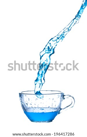 blue water  splash from glass on white background. - stock photo