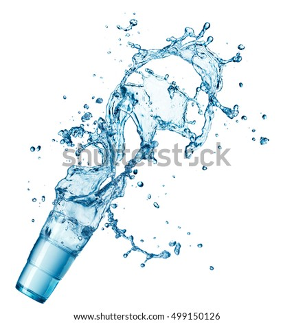 blue water splash in glass isolated on white background