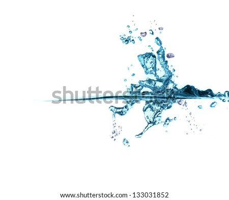 blue water splash isolated on white background, bubbles - stock photo