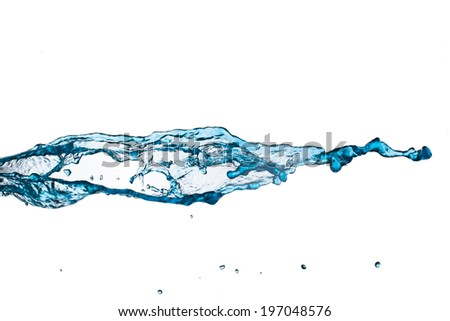blue water splash on white background.