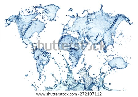 blue water splash (world map) isolated on white background - stock photo