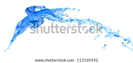 blue water splashes - isolated on white