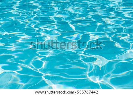 Blue water surface and ripple wave in pool