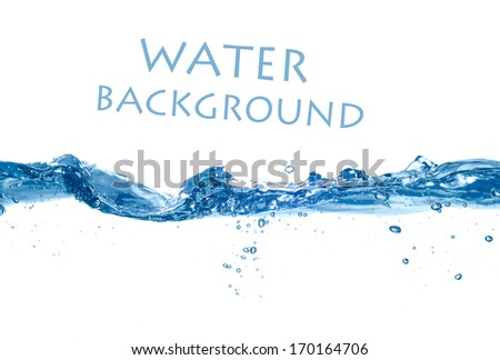 Blue water wave - stock photo