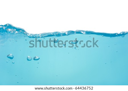 Blue water wave isolated on white background - stock photo