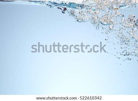 Blue water with air bubbles