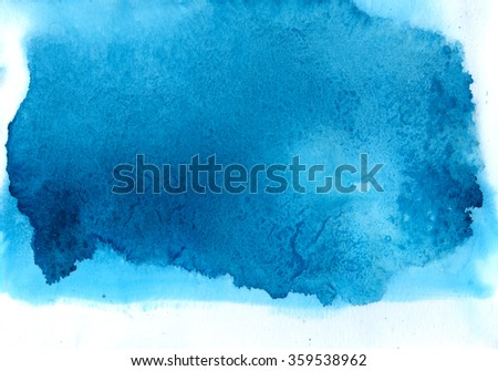 Blue watercolor background for textures and backgrounds - stock photo