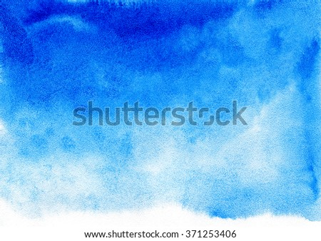 Blue watercolor background for textures and backgrounds. - stock photo