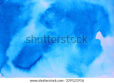 Blue watercolor background for textures and backgrounds. Ink illustration. Ombre blue watercolor background. Wet watercolor ombre background. Watercolor blue gradient, like the sky or sea water