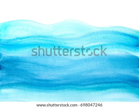"Blue watercolor background ""Sea waves"""