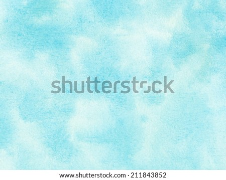 Blue watercolor clouds and sky. Abstract nature backgroud. - stock photo