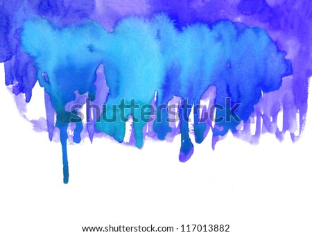 Blue watercolor effects for your design - stock photo