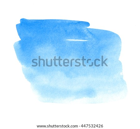 Blue watercolor hand drawn paper texture isolated square shape stain on white background for design, banner, template. Abstract water color stylized brush paint element for card, print, web, wallpaper - stock photo