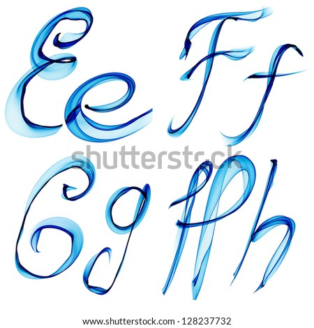 blue watercolor, ink font letter Ee Ff Gg Hh isolated on white background raster - stock photo
