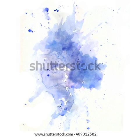 Blue watercolor paint splash - stock photo