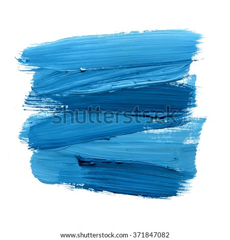 Blue watercolor paint stain isolated on white background. Dynamic Brush Stroke. Art Abstract Space for Text - stock photo