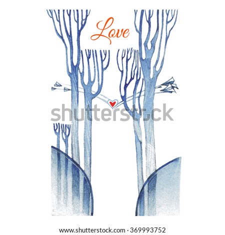 Blue watercolor painting trees with bare branches and red hart on a white background - stock photo