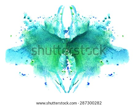 blue watercolor symmetrical Rorschach blot on a white background - stock photo