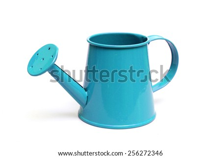 blue watering can isolated                                   - stock photo