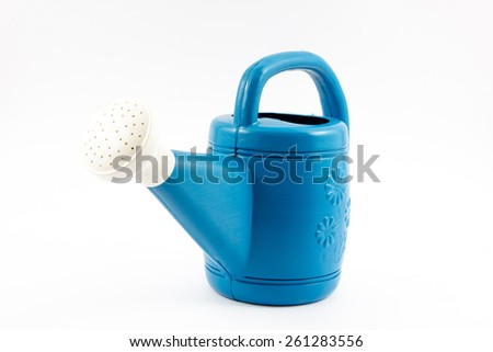 Blue watering can on white background.